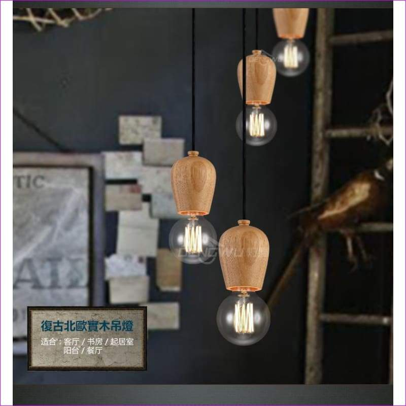 Creative Wood Ceiling light Nordic retro E27 study restaurant parlor bedroom foyer balcony decoration