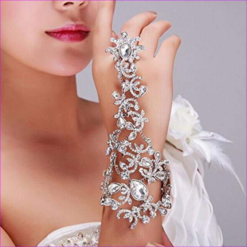 Crystal Bridal Gloves Wrist Fingerless Gloves Beaded Mariage Bracelet - Bridal Gloves