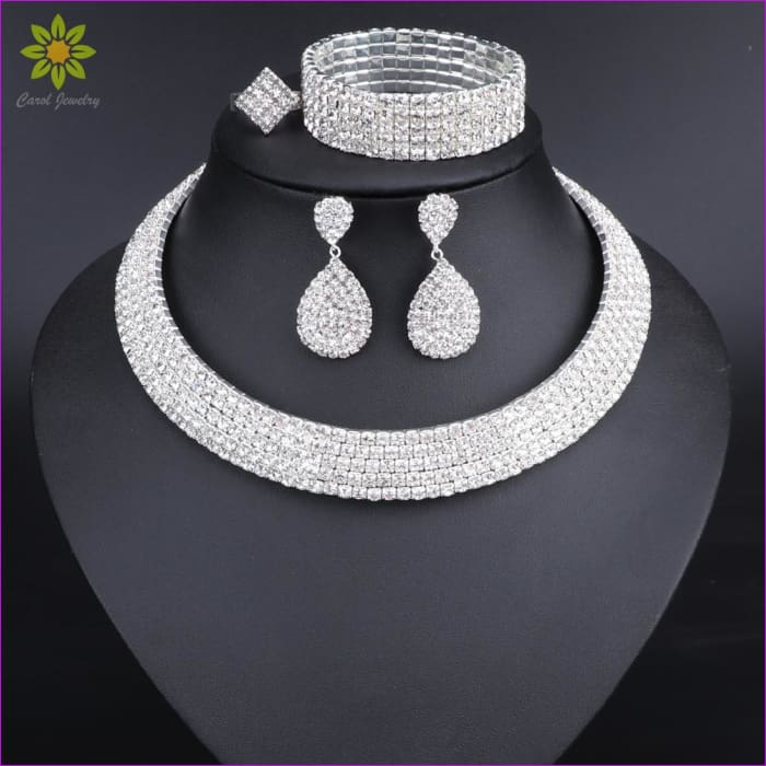 ea951cfd98 Crystal Bridal Jewelry Sets Silver Color Rhinestone Necklace Earrings  Bracelet Ring