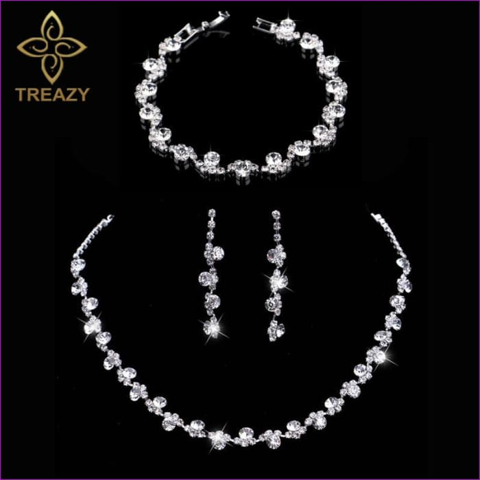 Crystal Bridal Jewelry Sets Wedding Necklace Earrings Bracelet Set - Bridal Jewelry Bridal Jewely