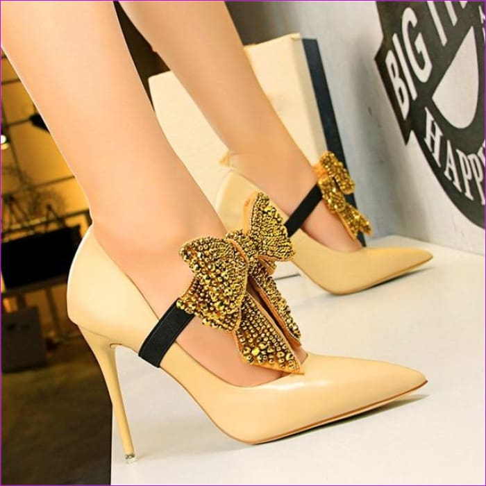 Crystal Butterfly-knot Wedding Shoes Pointed Pumps PU Leather High Heels Shoes - Apricot / 4.5 - High Heel Shoes High Heels