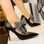 Crystal Butterfly-knot Wedding Shoes Pointed Pumps PU Leather High Heels Shoes - Black / 4.5 - High Heel Shoes High Heels
