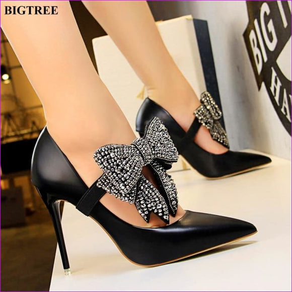 Crystal Butterfly-knot Wedding Shoes Pointed Pumps PU Leather High Heels Shoes - High Heel Shoes High Heels
