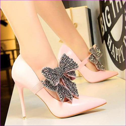 Crystal Butterfly-knot Wedding Shoes Pointed Pumps PU Leather High Heels Shoes - Pink / 4.5 - High Heel Shoes High Heels