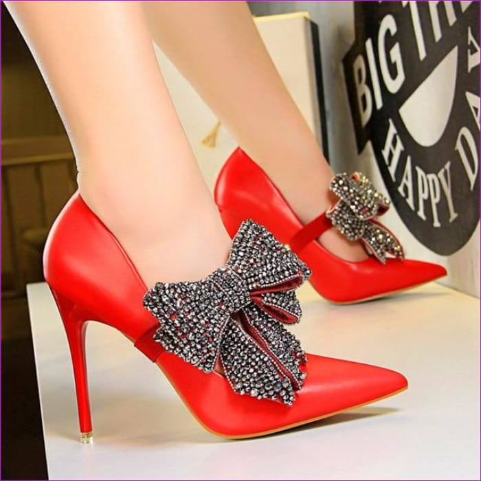 Crystal Butterfly-knot Wedding Shoes Pointed Pumps PU Leather High Heels Shoes - Red / 4.5 - High Heel Shoes High Heels
