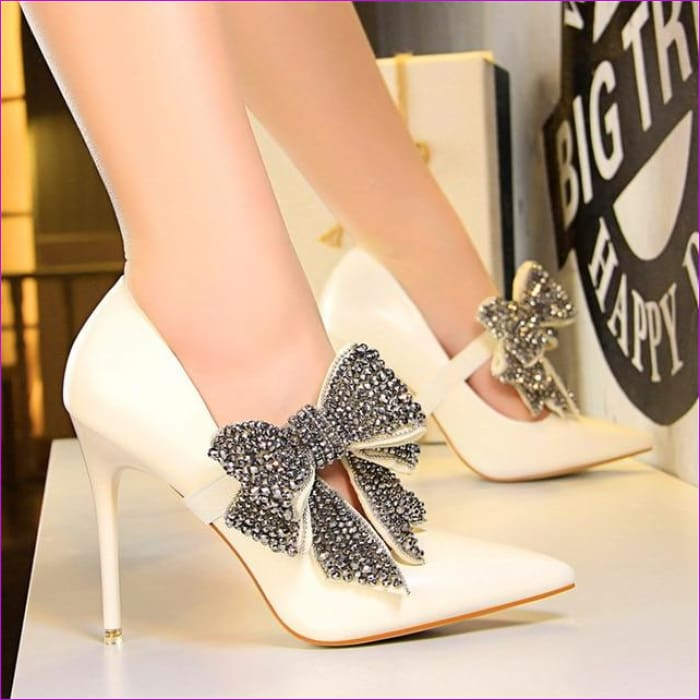 Crystal Butterfly-knot Wedding Shoes Pointed Pumps PU Leather High Heels Shoes - White / 4.5 - High Heel Shoes High Heels