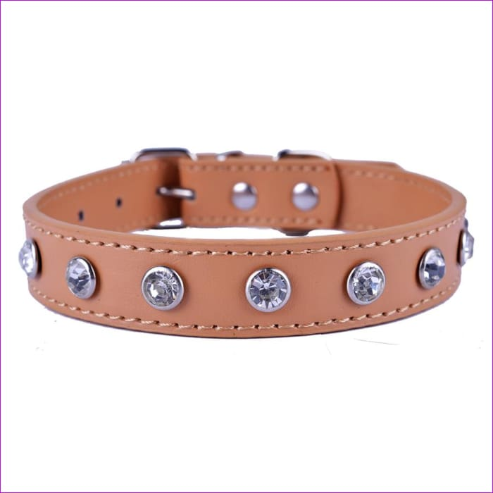 Crystal Rhinestones Pu Leather Dog Collar Adjustable Buckle Cute Collars For Small Dogs Puppy Pet Neck Strap Size S M L - Dogs