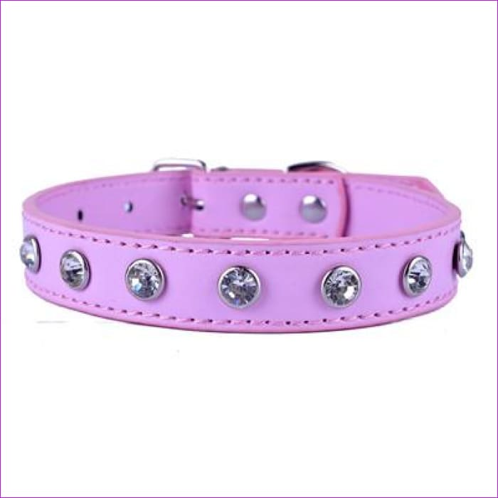 Crystal Rhinestones Pu Leather Dog Collar Adjustable Buckle Cute Collars For Small Dogs Puppy Pet Neck Strap Size S M L - Pink / S - Dogs