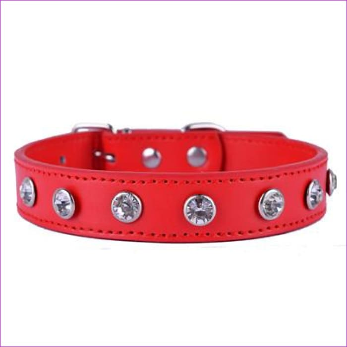 Crystal Rhinestones Pu Leather Dog Collar Adjustable Buckle Cute Collars For Small Dogs Puppy Pet Neck Strap Size S M L - Red / S - Dogs