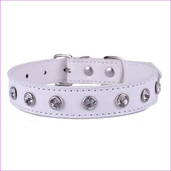Crystal Rhinestones Pu Leather Dog Collar Adjustable Buckle Cute Collars For Small Dogs Puppy Pet Neck Strap Size S M L - White / S - Dogs