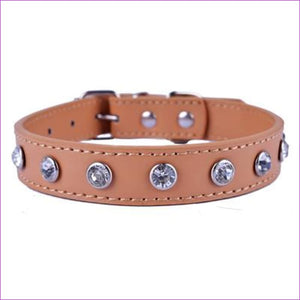 Crystal Rhinestones Pu Leather Dog Collar Adjustable Buckle Cute Collars For Small Dogs Puppy Pet Neck Strap Size S M L - Yellow / S - Dogs
