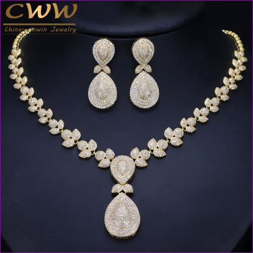 Cubic Zirconia Stones Luxury Dubai Gold Color Bridal Wedding Jewelry Sets - Jewelry Sets Jewelry Sets