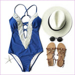 Cupshe Enormous Enjoyment Lace One-piece Swimsuit V neck Lace Crochet Bikini Set Bathing Suit swimwear Monokini Maillot De Bain - Blue / L /
