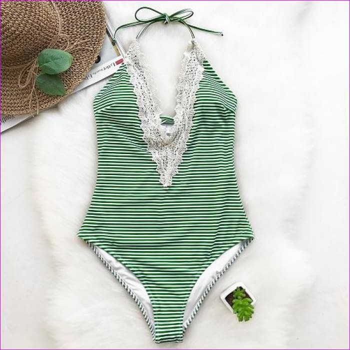 Cupshe Enormous Enjoyment Lace One-piece Swimsuit V neck Lace Crochet Bikini Set Bathing Suit swimwear Monokini Maillot De Bain - One Piece