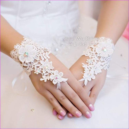 CZ Diamond Hollow Out Lace Fingerless Bridal Gloves Wedding Accessory Fashion - Bridal Gloves