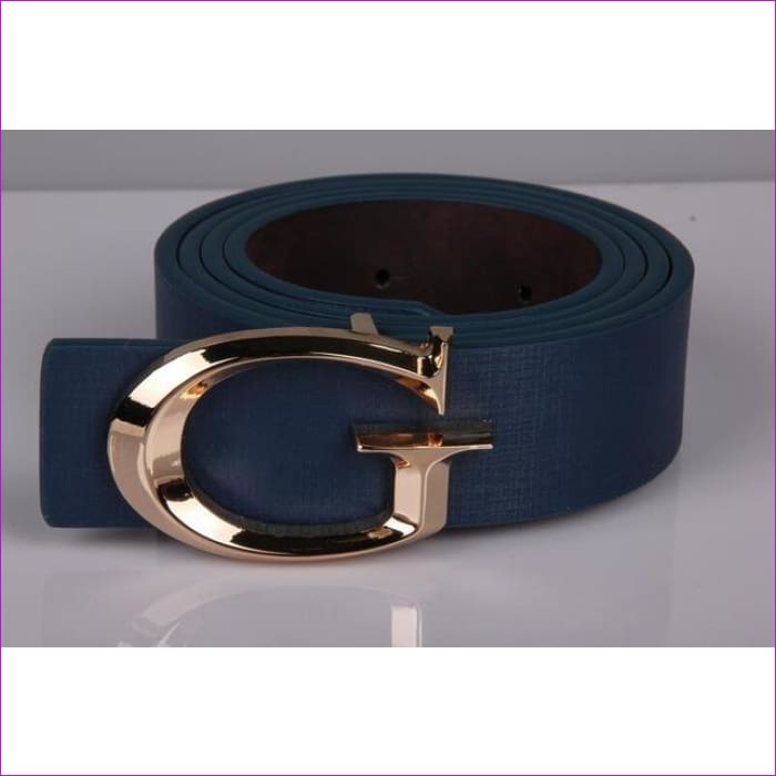 Designer Belts for Women Fashion Letter Smooth Buckle Belts Women Men Luxury Leather Belts for Unisex - blue / 110cm - Womens Belts