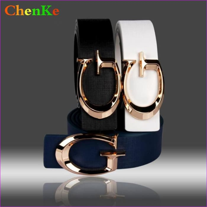 Designer Belts for Women Fashion Letter Smooth Buckle Belts Women Men Luxury Leather Belts for Unisex - Womens Belts cf-color-black