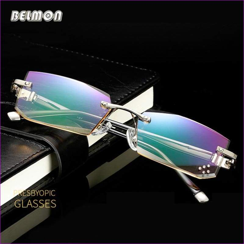 Diamond Cut Reading Glasses Crystal Rimless Diopter Glasses Presbyopic Eyewear - Reading Glasses