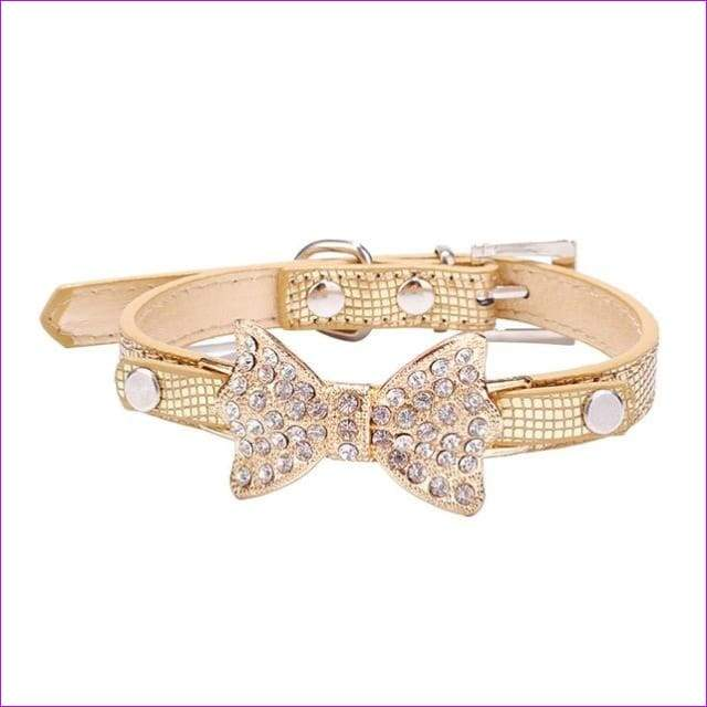 Dog Collar Bling Crystal Collar Lovely PU Leather Pet Puppy Collar Rhinestone Bowknot Necklace - Gold / M