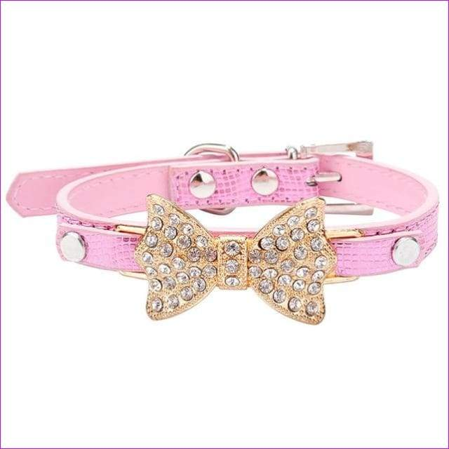 Dog Collar Bling Crystal Collar Lovely PU Leather Pet Puppy Collar Rhinestone Bowknot Necklace - Pink / M