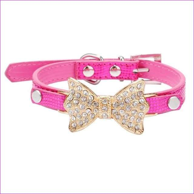 Dog Collar Bling Crystal Collar Lovely PU Leather Pet Puppy Collar Rhinestone Bowknot Necklace - Rose / M