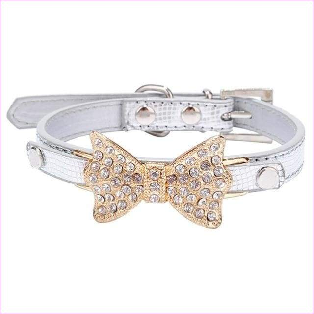 Dog Collar Bling Crystal Collar Lovely PU Leather Pet Puppy Collar Rhinestone Bowknot Necklace - White / M