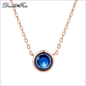 Double Fair Simple Style Cubic Zirconia Necklaces &Pendants Rose Gold Color Fashion Jewelry For Women Chain Accessiories DFN454 - Blue