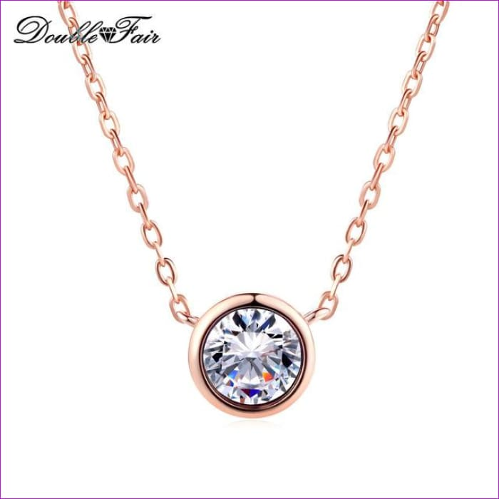 Double Fair Simple Style Cubic Zirconia Necklaces &Pendants Rose Gold Color Fashion Jewelry For Women Chain Accessiories DFN454 - Clear