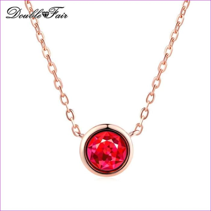 Double Fair Simple Style Cubic Zirconia Necklaces &Pendants Rose Gold Color Fashion Jewelry For Women Chain Accessiories DFN454 - Fuchsia