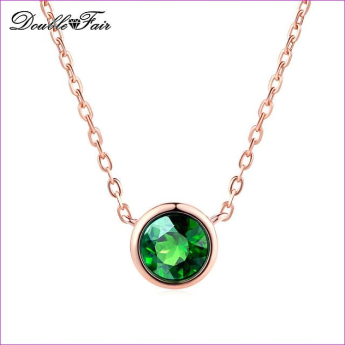 Double Fair Simple Style Cubic Zirconia Necklaces &Pendants Rose Gold Color Fashion Jewelry For Women Chain Accessiories DFN454 - Green