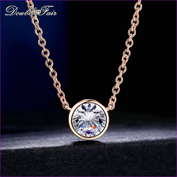 Double Fair Simple Style Cubic Zirconia Necklaces &Pendants Rose Gold Color Fashion Jewelry For Women Chain Accessiories DFN454 - Necklaces