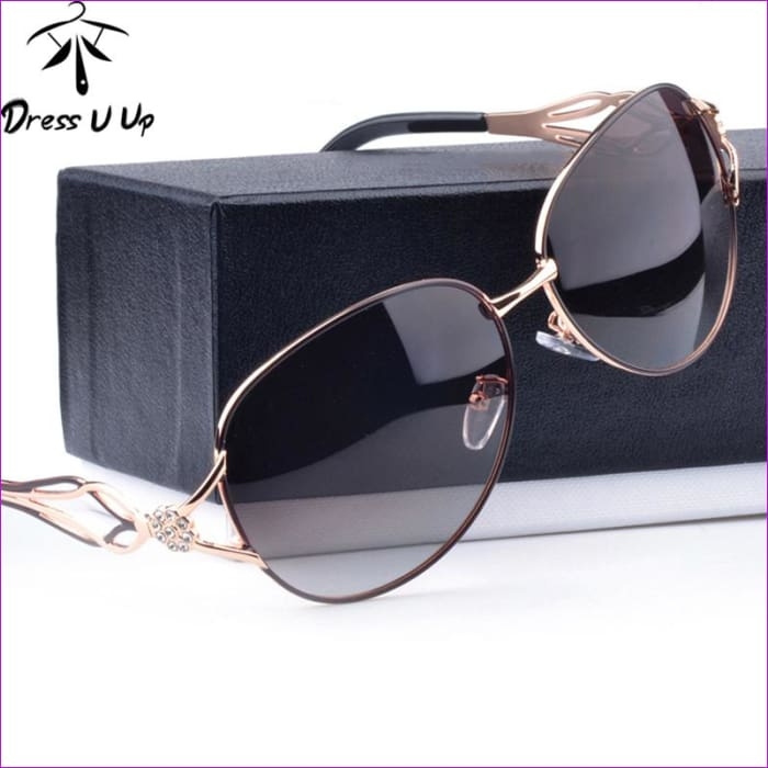 DRESSUUP Fashion Polarized Sunglasses Women Diamond Luxury Brand Design Sun Glasses Female Polaroid Lens Oculos De Sol Feminino - Sun