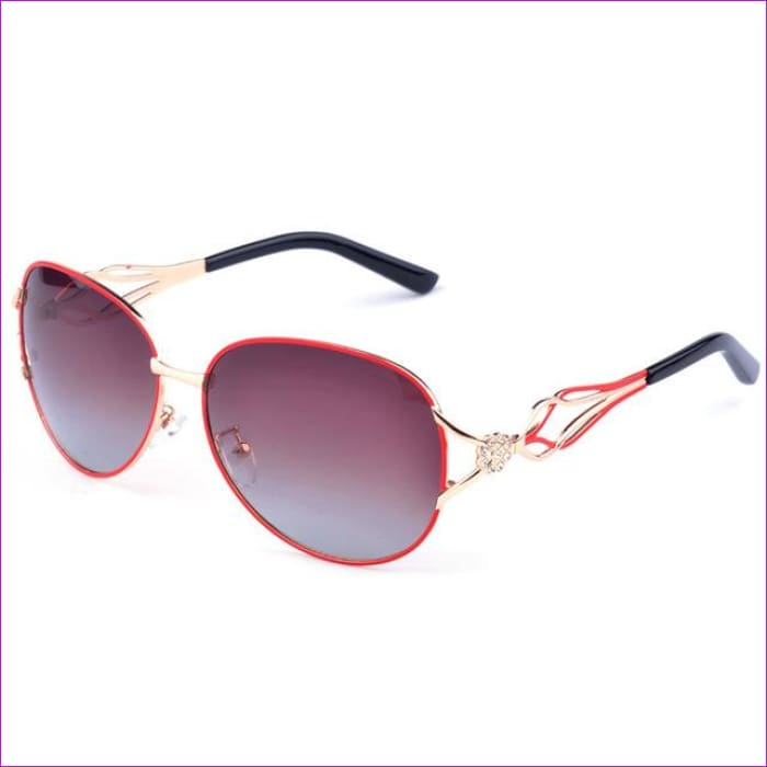 DRESSUUP Fashion Polarized Sunglasses Women Diamond Luxury Brand Design Sun Glasses Female Polaroid Lens Oculos De Sol Feminino - RED - Sun