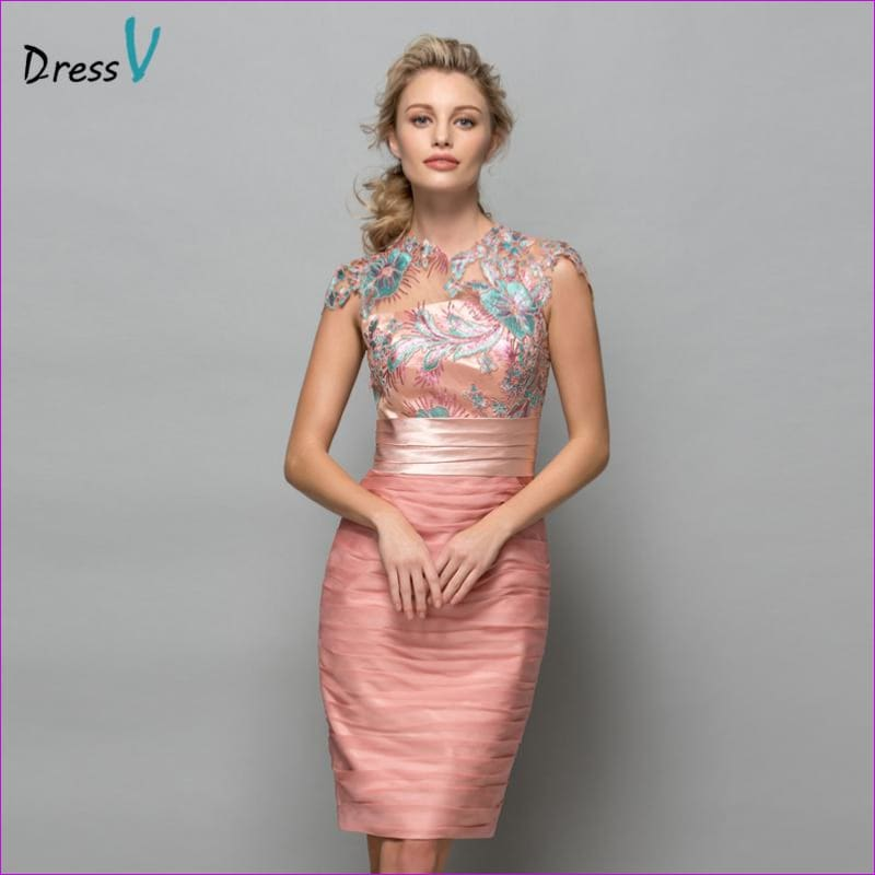 Dressv Pearl Pink Chiffon Short Cocktail Dresses 2017 Sequins Lace Knee Length Women Prom Dress Designer Formal Holiday Gown - Cocktail