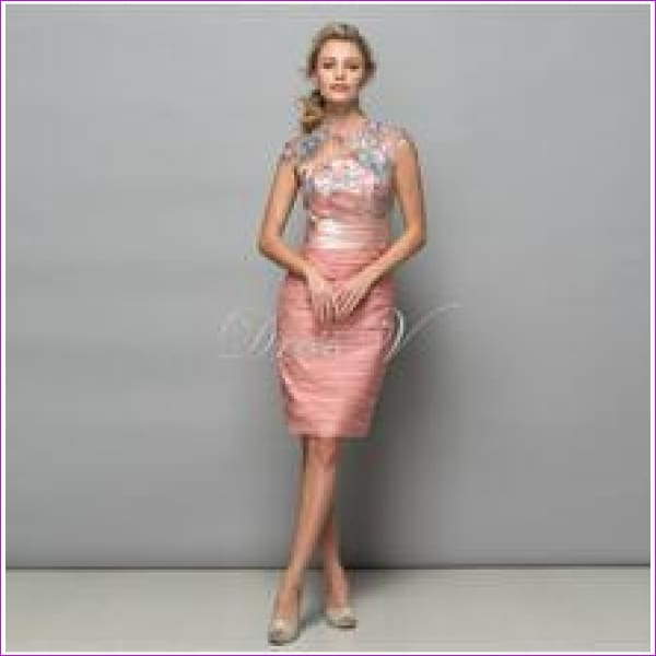 Dressv Pearl Pink Chiffon Short Cocktail Dresses 2017 Sequins Lace Knee Length Women Prom Dress Designer Formal Holiday Gown - Same as