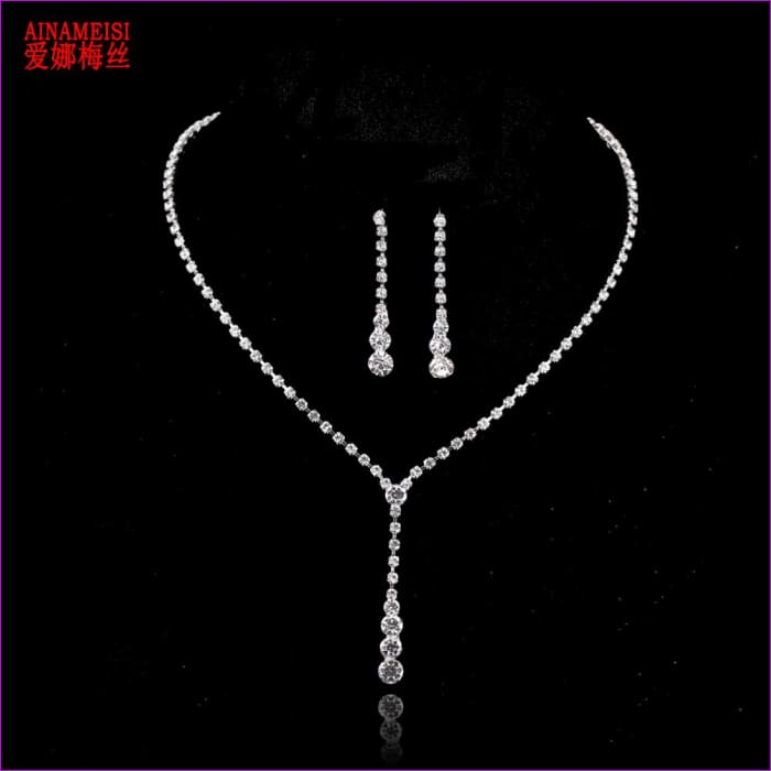 Drop Crystal Choker Necklace Earrings Set Bridal Bridesmaid Charm Silver Wedding Jewelry Sets - Bridal Jewelry Bridal Jewely