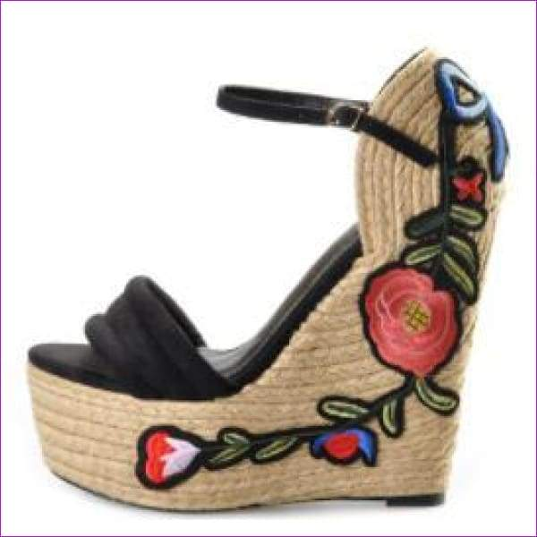 Embroidered Pink Palm suede wedge shoes hibiscus flower applique supper higH - Black / 5 - Sandals