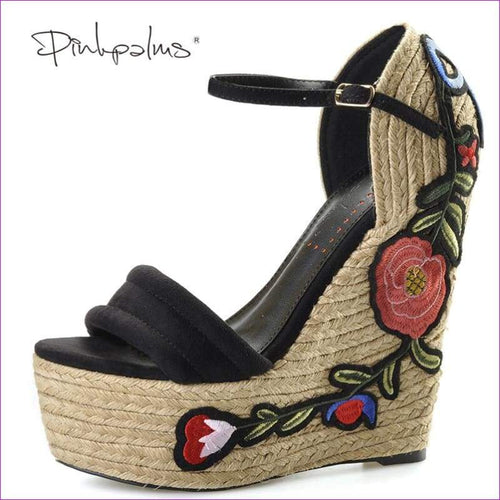 Embroidered Pink Palm suede wedge shoes hibiscus flower applique supper higH - Sandals