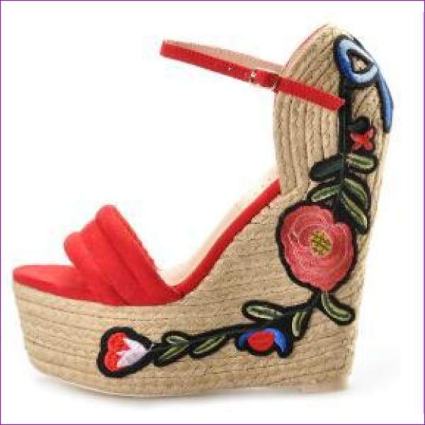 Embroidered Pink Palm suede wedge shoes hibiscus flower applique supper higH - Red / 5 - Sandals