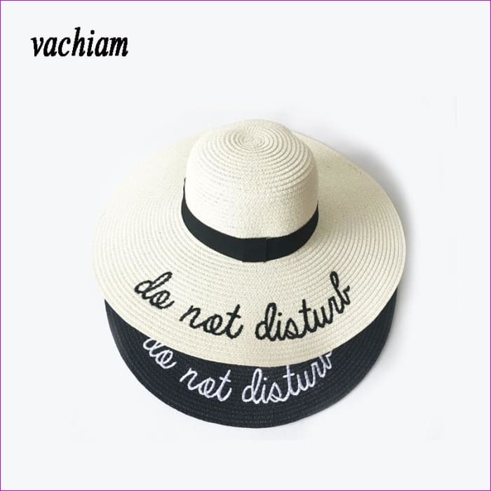 Embroidery Cap Big Brim Ladies Summer Straw Hat Youth Hats For Women Shade sun hats Beach hat Free Delivery - Beach Hats Beach Hats