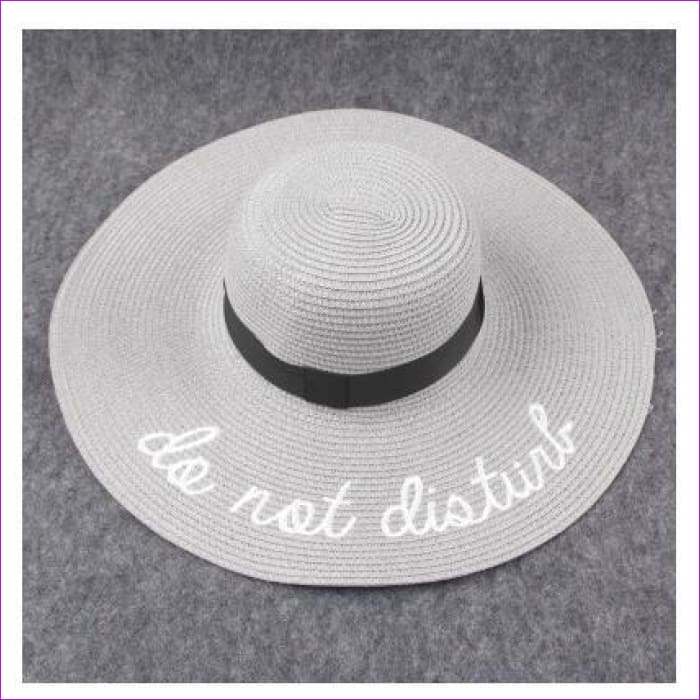 Embroidery Cap Big Brim Ladies Summer Straw Hat Youth Hats For Women Shade sun hats Beach hat Free Delivery - gray - Beach Hats Beach Hats