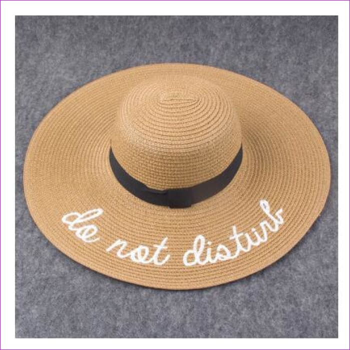 Embroidery Cap Big Brim Ladies Summer Straw Hat Youth Hats For Women Shade sun hats Beach hat Free Delivery - khaki - Beach Hats Beach Hats