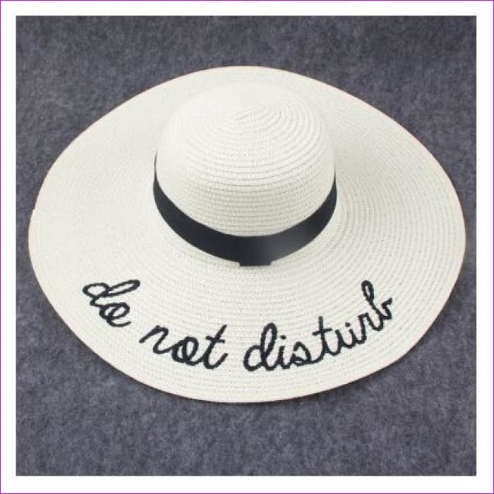 Embroidery Cap Big Brim Ladies Summer Straw Hat Youth Hats For Women Shade sun hats Beach hat Free Delivery - Milk white - Beach Hats Beach