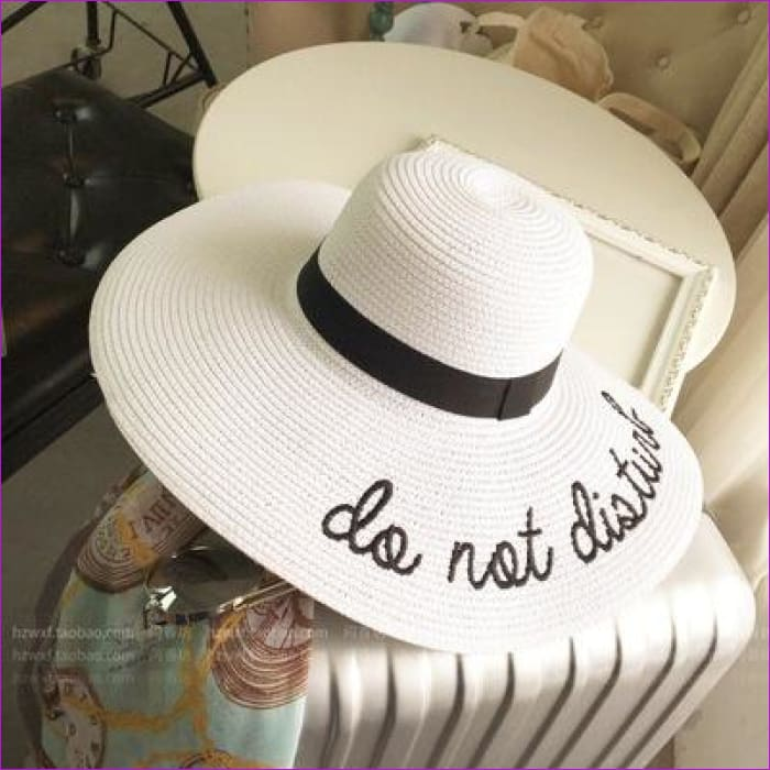 Embroidery Cap Big Brim Ladies Summer Straw Hat Youth Hats For Women Shade sun hats Beach hat Free Delivery - white - Beach Hats Beach Hats