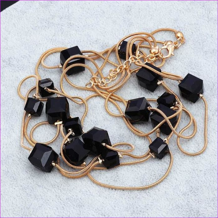 Europe Fashion Crystal Jewelry Accessories Austrian Crystal Bead Long Necklace Sweater Chain Necklaces & Pendants For Women - Black -