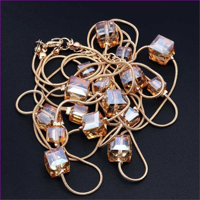 Europe Fashion Crystal Jewelry Accessories Austrian Crystal Bead Long Necklace Sweater Chain Necklaces & Pendants For Women - Champagne -