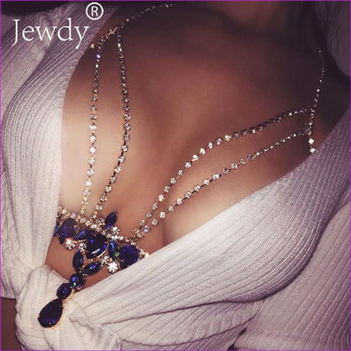 Fashion Gold Silver Color Body Chain Blue Rhinestone Multilayer Sexy Beach Bikini Harness Crystal Flower Women Bralette Jewelry - Body