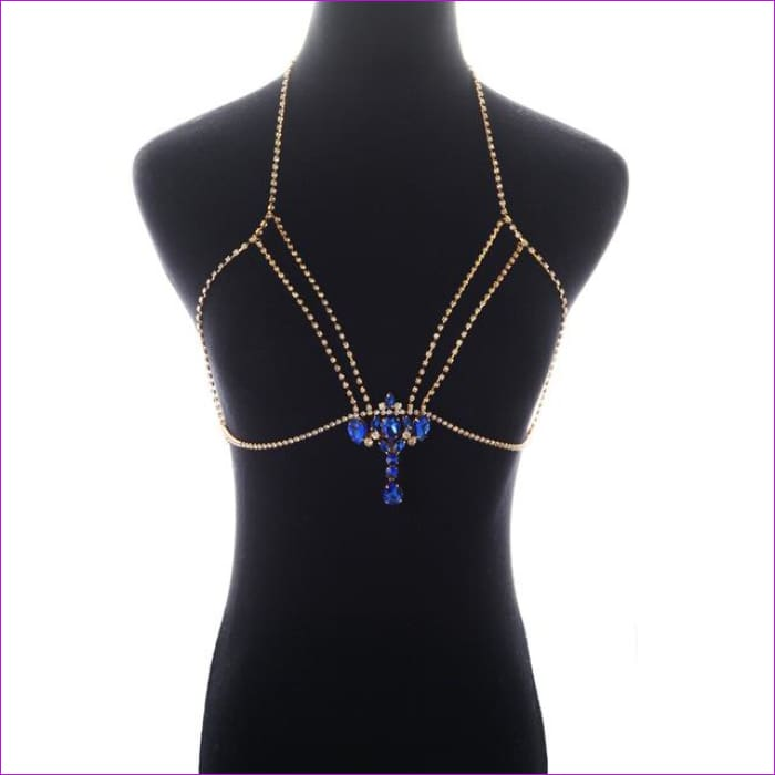 Fashion Gold Silver Color Body Chain Blue Rhinestone Multilayer Sexy Beach Bikini Harness Crystal Flower Women Bralette Jewelry - gold -