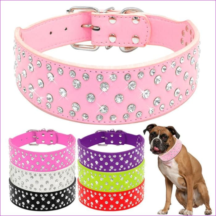 Fashion Jeweled Rhinestones Pet Dog Collars Sparkly Crystal Diamonds Studded PU Leather Collar For Medium & Large Dogs Pitbull -