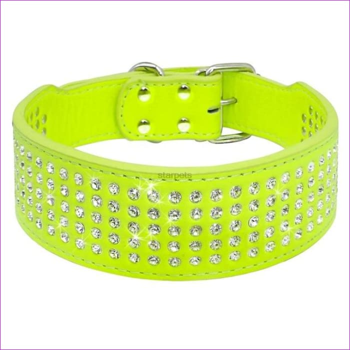 Fashion Jeweled Rhinestones Pet Dog Collars Sparkly Crystal Diamonds Studded PU Leather Collar For Medium & Large Dogs Pitbull - Green / S -